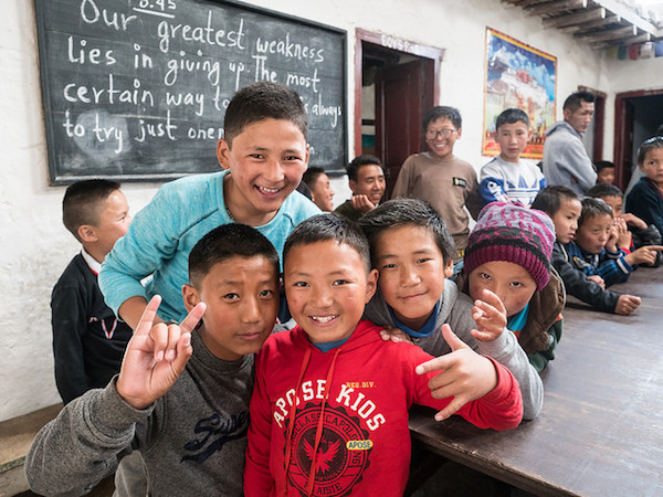 a photo of kids at the mustang school in nepal