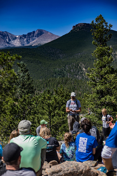 a photo of trevor hahn talking to the group at whats your everest 2018