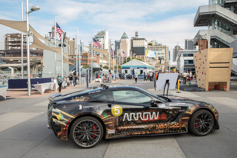 a photo of the sam car that sam schmidt drives onboard the intrepid during the no barriers summit in nyc