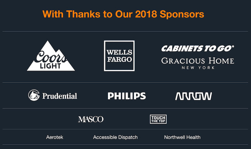 a photo of a list of sponsors of the no barriers summit in nyc