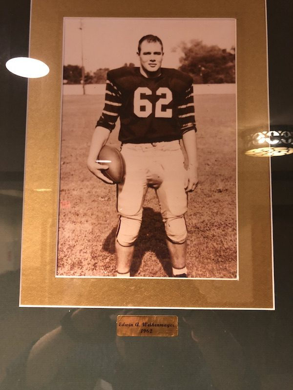 a photo of ed weihenmayer from his time as a football player at princeton university
