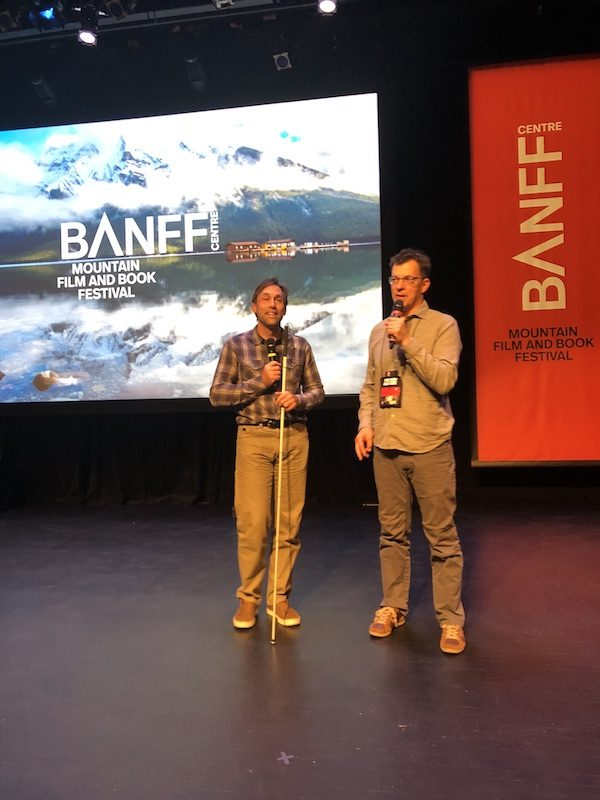 a photo of erik and michael on stage at banff film festival