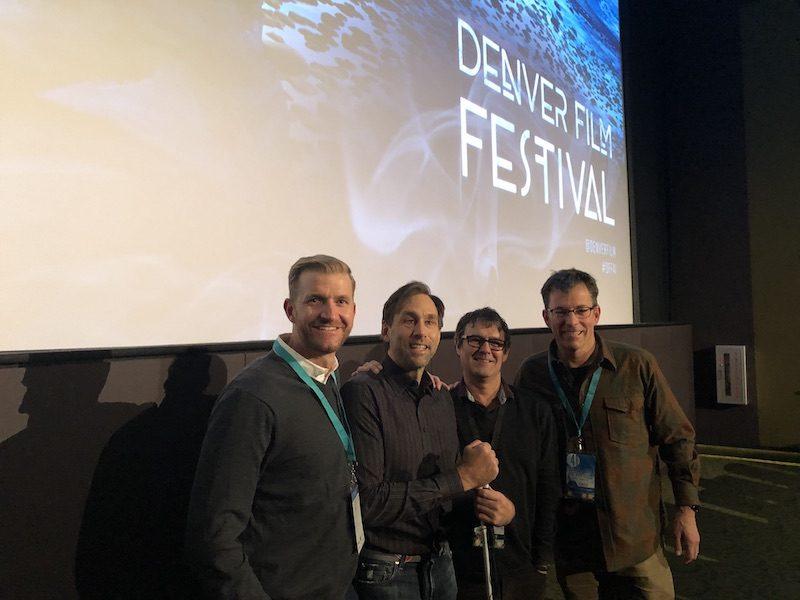 a photo of skyler williams erik weihenmayer and michael brown at denver film festival