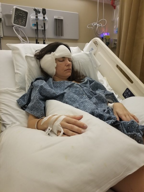 a photo of shanna in the hospital post surgery