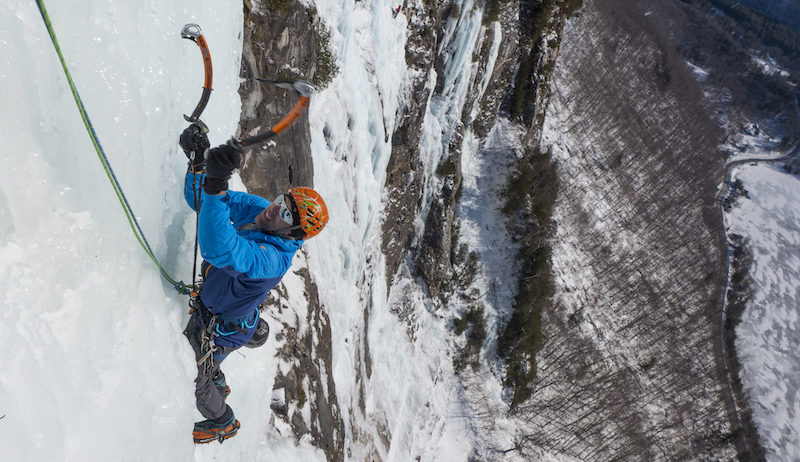 a photo of erik swinging his ice tools on the route whos who in new hampshire