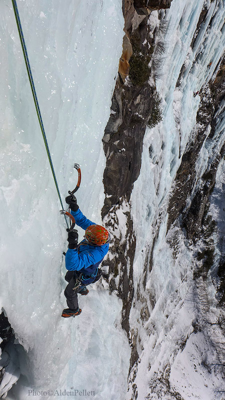 a photo of erik ice climbing up whos who in nh