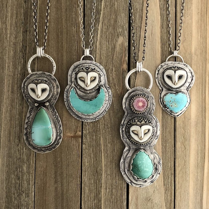 a photo of necklaces with owls and jade from angies jewelry
