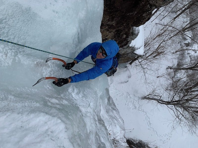 a photo of erik ice climbing on neurosis